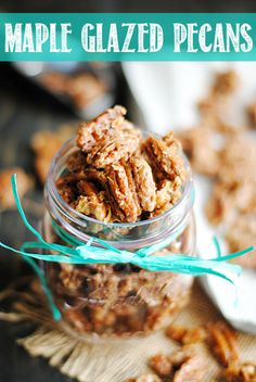 Maple Glazed Pecans are incredibly easy to make and are so delicious on top of ice cream or yogurt, in salads, or on their own!