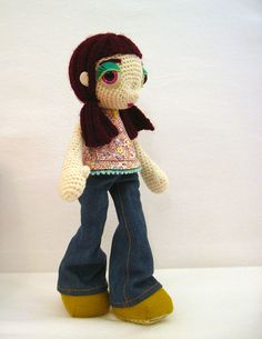 """Sophie is 13"""" tall.  She crocheted with wool yarn and dressed in natural materials."""