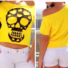 🌟 Clearance 🌟 🆕🎀 Skull Tee Wide neck Terry Tee - 95% cotton 5% spandex- ships next day.   Bundles of 3 or more will receive an automatic 20% discount. Reasonable offers will be accepted ❌ No Trades❌ Tops