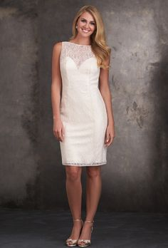 Brides: Allure Bridesmaids. This sleeveless dress features delicate lace overlay and a high bateau neckline.