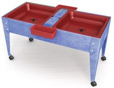 Youth Double Mite Sensory Table with Red Tubs
