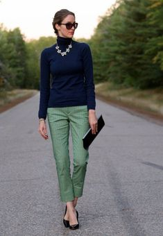 banana republic crop pants with blue turtleneck and statement necklace