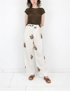 Creatures of Comfort Klein Pants - Flora White Harem Pants, Trousers, Cactus Print, Selfish, Parachute Pants, Floral Prints, Army, Creatures, Inspired