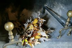 Fireplace and dried leaves