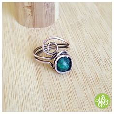 Simple wire wrapped azurite ring/wire wrapped ring/gemstone