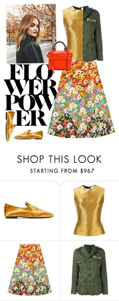 """Modern military"" by the-lesser-spotted-shopper ❤ liked on Polyvore featuring The Row, Oscar de la Renta, Gucci, Dsquared2, Elena Ghisellini and modern"