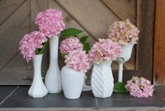 Inexpensive - Hydrangeas and milk glass vases (Check Thrift stores for the vases)