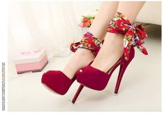 love it!  Zmart   Black Floral Ankle Wrap Heels   Online Store Powered by Storenvy