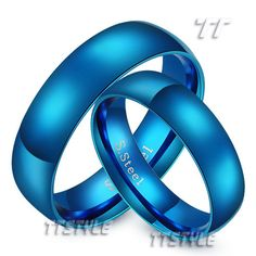 Cool TT 6mm Blue S.Steel Wedding Band Ring Mens & Womens For Couple Size 6-13