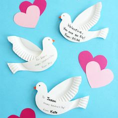paper-plate doves for Valentine's Day or Easter