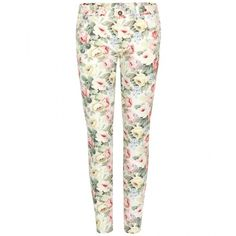 Miu Miu Floral-Print Skinny Jeans ($315) ❤ liked on Polyvore featuring jeans, pants, bottoms, pantalones, calças, multicoloured, colorful jeans, floral print jeans, flower print skinny jeans and floral jeans