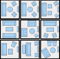 Opções de layout sala de estar!