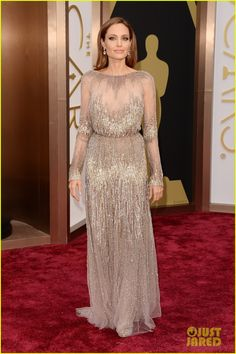 Angelina Jolie is picture perfect  on the red carpet at the 2014 Academy Awards held at the Dolby Theatre on Sunday (March 2) in Hollywood.
