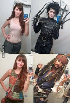 Genuinely good cosplay | going Johnny Depp on us with the Edward Scizzorhands and Captain Jack Sparrow thing there