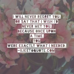 I will never regret you, or say that I wish I'd never met you. Because once upon a time you were exactly what I needed. Regret Quotes, Sad Quotes, Best Quotes, Love Quotes, Inspirational Quotes, Needing A Break Quotes, Never Regret, Crazy About You, Broken Heart Quotes