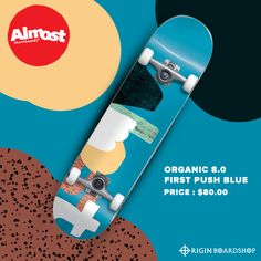 This professional quality Organic Blue Complete Skateboard from Almost measures wide x long and is ideal for every skill level. It is constructed with traditional wood, which gives you a deck that's durable, sturdy and poppy without breaking the bank. Supra Shoes, Complete Skateboards, Skate Decks, Rip Curl, Skate Shoes, Beanies, Billabong, Roxy, Oakley
