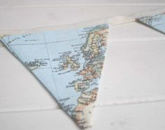 Vintage World Map Bunting - could be cute above his bed.