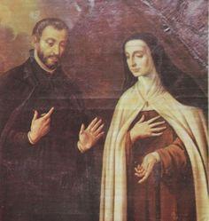 Sta. Teresa retratada con el P. Baltasar Alvarez, rector del Colegio de los PP. Jesuitas de Salamanca.