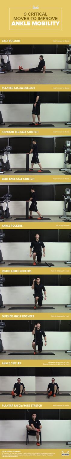 9 Critical Moves to Relieve Tight Ankles ankle mobility exercises Ankle Mobility Exercises, Leg Exercises, Ankle Stretches, Weight Exercises, Fascia Stretching, Ankle Joint, Sprained Ankle, Knee Injury, Yoga