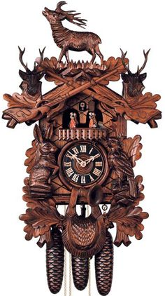 Add a touch of natural elegance to your home with this carved cuckoo clock. 8 Day Regula Movement inches) Cuckoo on Every Hour & Every Hour Hand-Carved Animals Hunting Style Features Moving Dancers Wooden Hand, Home Decor Furniture, Country Furniture, Wooden Doors, Wooden Clock, Black Forest, Hunting, Antiques, Cuckoo Clocks