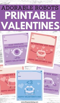 For a quick and easy Valentines project, we made these printable robots valentine cards for the kids. They'll love having personalized cards to pass out that are unique to them! Valentines Robots, Valentines For Boys, Valentines Day Activities, Valentine Cards, Valentines Recipes, Printable Valentine, Free Printable, Fun Printables For Kids, Valentine's Day Printables