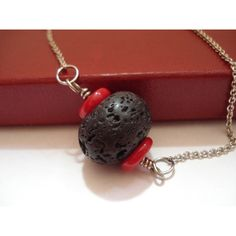 Black Lava Rock Red Coral Choker Necklace Volcanic Modern Unisex... ($16) ❤ liked on Polyvore featuring jewelry, necklaces, beaded necklaces, choker necklace, red coral necklace, beading necklaces and beaded choker