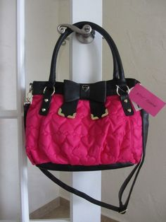 BETSEY JOHNSON BOW TIED SATCHEL CROSSBODY FUCHSIA & BLACK NWT $88 #BETSEYJOHNSON #Satchel