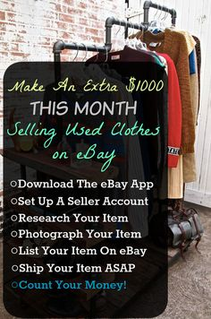 How To Sell Used Clothes On eBay For Fun & Profit!  If you want to make money on the side, selling used clothes on eBay.  Find out exactly what clothing brands sell best on eBay and where to find them.  Making money on eBay is one of the best side hustles out there.  Clean out your closet and rake in the money!  Also, be sure to check our our blog at ResellingRevealed for more tips, tricks, and eBay guides!