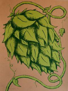 Hop Flower Art Print by IttyBittyPress on Etsy, $20.00
