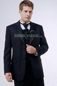deux bouton jaquette de mariage ou professionnel en satin pas cher robe207411 - Costume Jaquette Mariage