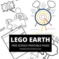 LEGO Earth science coloring pages and Earth Day coloring sheets