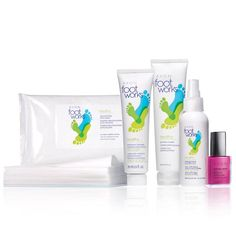 """Keep your feet feeling healthy and beautiful with all the tools for a mini-pedi in one set. A $35.50 value, the set includes: Deodorizing Foot Wipes – Each wipe, 7"""" L x 6 3/4"""" W. Resealable package of 24 wipes. A $7 value. Bonus Size Maximum Strength Cracked Heel Cream – 2.5 fl. oz. A 47.50 value. Pumice Cream – 3.4 fl. oz. A $6 value. Antifungal Spray for Athlete's Foot – 3.4 fl. oz. A $9 value. Nailwear Pro+Nal Enamel in Berry Smooth – 4 ..."""