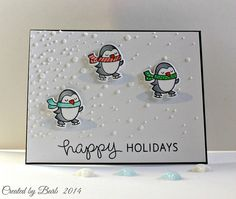 Lawn Fawn - Winter Penguin + coordinating dies _ adorable Happy Holidays card by Barb G via Flickr - Photo Sharing!