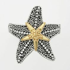14k Gold Over Silver & Sterling Silver Textured Starfish Ring