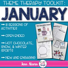 Hot Chocolate, Winter Sports, & Snow are themes covered in this download, which is a toolbox of material for you for the month!  This download has you covered for 8 whole sessions (or more!) of speech therapy, centered around the theme of January fun.