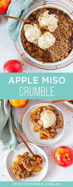 This Apple Miso Crumble is such a great winter comfort food dessert. The secret ingredient Miso pairs so perfectly with the Apples and Salted Caramel. Serve it with a delicious homemade No Churn Salted Caramel Ice Cream. Winter Desserts, Easy Desserts, Dessert Recipes, Salted Caramel Ice Cream, Cooked Apples, Crumble Topping, Cooking, Pairs, Homemade