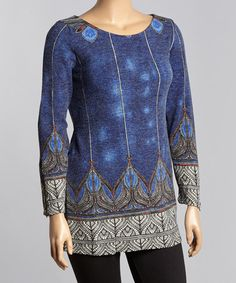 Look at this #zulilyfind! Blue Abstract Scoop Neck Sweater Tunic - Plus #zulilyfinds