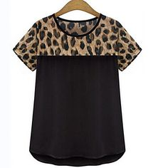Women's+Casual/Daily+/+Plus+Size+Simple+Summer+T-shirt,Animal+Print+Round+Neck+Short+Sleeve+White+/+Black+Polyester+Thin+–+USD+$+4.99