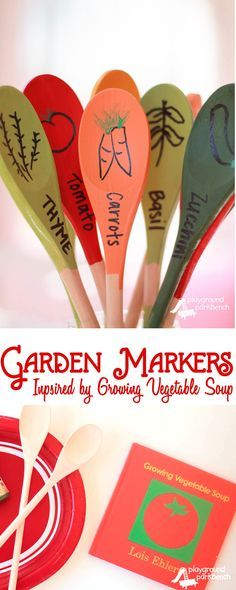 DIY Garden Markers Inspired by Lois Ehlert's Growing Vegetable Soup - Get ready to start your seeds with your kids this Spring by reading Lois Ehlert's Growing Garden boxed set and create your own DIY, permanent Garden Markers! They make for great Mother's Day gifts too   Gardening   DIY   Crafts for Kids   Kids Activities   Children's Books   Spring   Gardening with Kids   Mother's Day   Gift Ideas  