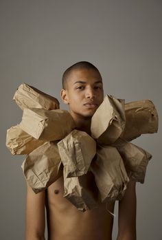 Wilmer Wilson IV Born 1989  Wilson constructs elaborate performance pieces that unfold over several hours, often involving repetition, ritual, everyday materials and his nude body.    Study from My Paper Bag Colored Heart 2012