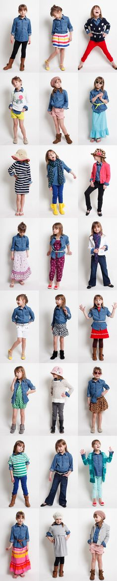Is it wrong to get outfit inspiration from a 5 year old? Not if she's this adorable! Mini Chambray Shirt Project! Inspiration for mommy and baby outfits