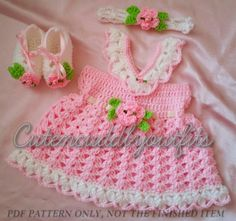 Baby crochet pattern Baby dress Pattern by CutenCuddlyOutfits