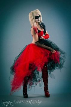 Harley Quinn Adult tutu skirt Wedding Formal bustle trail cosplay ...