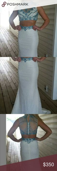 2 piece lace and turquoise formal Turquoise and silver beaded 2 pc formal with a lace skit that has a silver beaded to bustle the train and the skirt has the turquoise beading on the waistband Clarisse   Dresses Prom