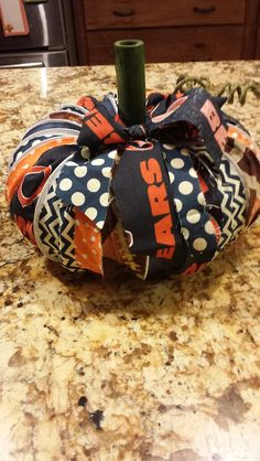 Check out this item in my Etsy shop https://www.etsy.com/listing/200292513/chicago-bears-pumpkins-out-of-repurposed