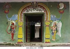 wall paintings of Lord Hanuman and God Vishnu on entrance gate of Shri Raghunath Ashram ; Uttaranchal ; india - Stock Image