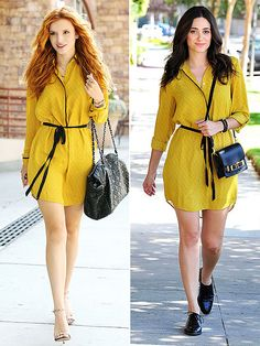 Fashion Faceoff | BELLA VS. EMMY  | After you decide who has the most stylish take on this Loft shirtdress, you might want to nab one for yourself. Why? It's under $100 – and it's on sale now.