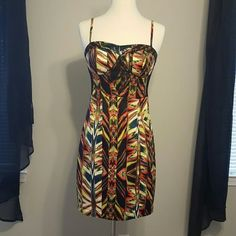 XOXO multi colored dress Adjustable straps,  lightly padded in chest, zips up back with a little slit in the back XOXO Dresses Midi