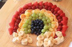 Rainbow Fruit Platter--plus other rainbow party ideas Rainbow Parties, Rainbow Birthday Party, 5th Birthday, Fruit Birthday, Fireman Birthday, Birthday Ideas, Birthday Parties, Rainbow Fruit Platters, Fruit Trays