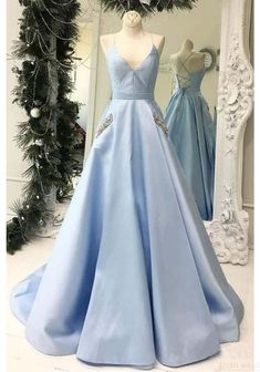 Buy Simple V Neck Sky Blue Satin Long Prom Dresses with Pockets Beading, Formal Dresses online.Shop short long ombre prom, homecoming, bridesmaid evening dresses at Couture Candy Cocktail party dresses, formal ball gowns in ombre colors. Prom Dresses With Pockets, Straps Prom Dresses, Open Back Prom Dresses, Cute Prom Dresses, Long Prom Gowns, Grad Dresses, Party Dresses, Baby Blue Dresses, Awesome Dresses